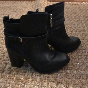 Wide with black leather booties with buckle
